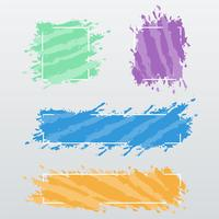 Modern banners, frames of color brush strokes, vector set