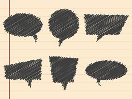 Black hand drawn speech bubbles,set