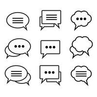 Conjunto de ícones lineares de bolha do discurso