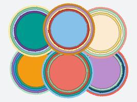 Sats med färgglada, rifna pappersramar med skuggor