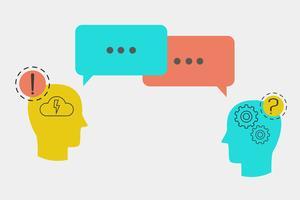 Iconos de cabeza con burbujas de discurso, concepto de servicios al cliente