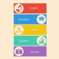 Ensemble d'affaires, bannières d'éducation avec des icônes