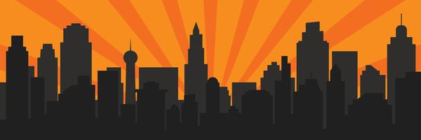 Sunrise and modern black silhouette city in Pop art style