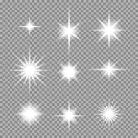 Conjunto de vetores de explosão estelar abstrata transparente com brilhos