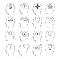 Set di icone di attività del cervello, stile di linea sottile, design piatto