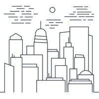 Stijlvol modern stadsgezicht in lijnstijl