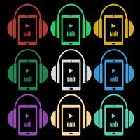Set of music icons - headphones with player