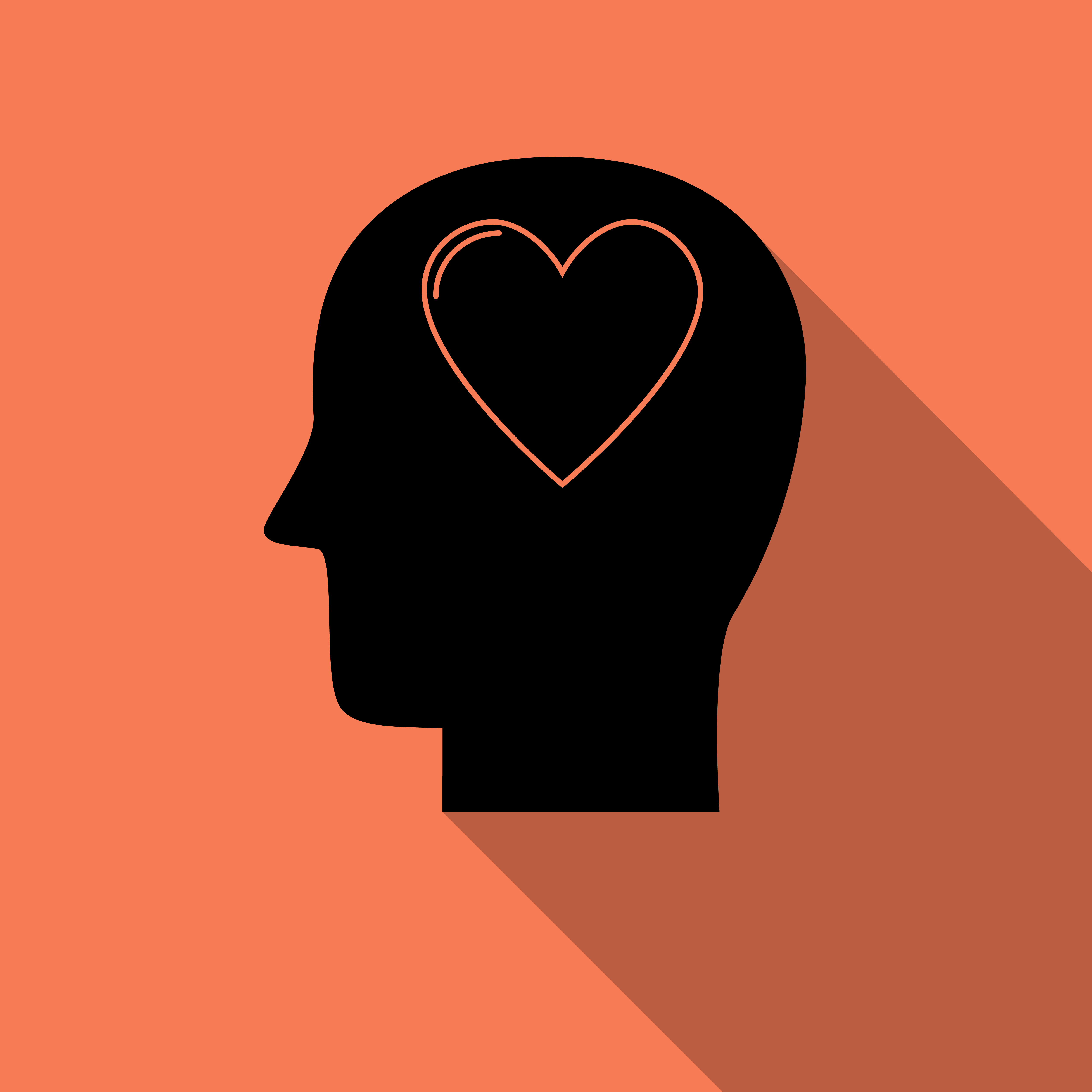 Human head with heart icon ,love symbol with long shadow