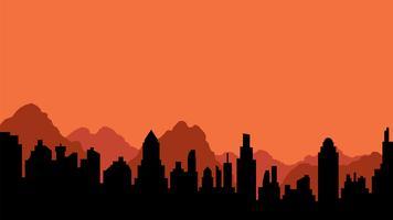 Silueta, de, cidade, e, montanhas