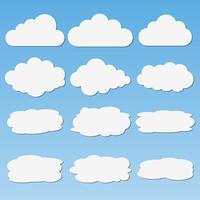 Conjunto de nuvens de papel diferentes com sombras