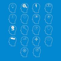 Set of brain activity icons, cut from white paper