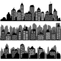 Vector set of different black horizontal night cityscape