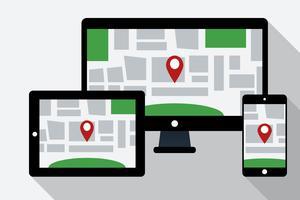 Computadora, tableta PC y teléfono móvil con mapa de navegación en línea en la pantalla