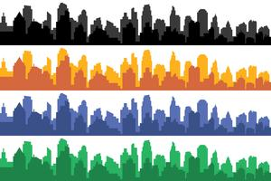 Vector set of different color horizontal cityscapes