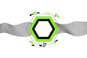 Banner geometrico alla moda con forme piatte, moderni colori verde e nero