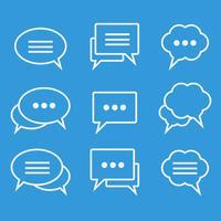 Coleção de ícones lineares de bolhas de discurso