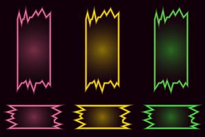 Set of creative geometric bright neon vector banners on black background