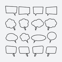 Speech bubble linear icons set