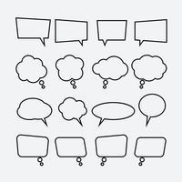 Conjunto de ícones linear de bolha de discurso
