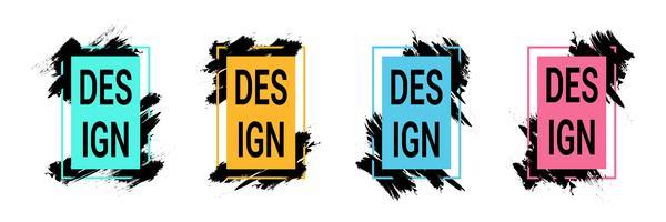Marcos de color con pinceladas negras para texto, gráficos de arte moderno