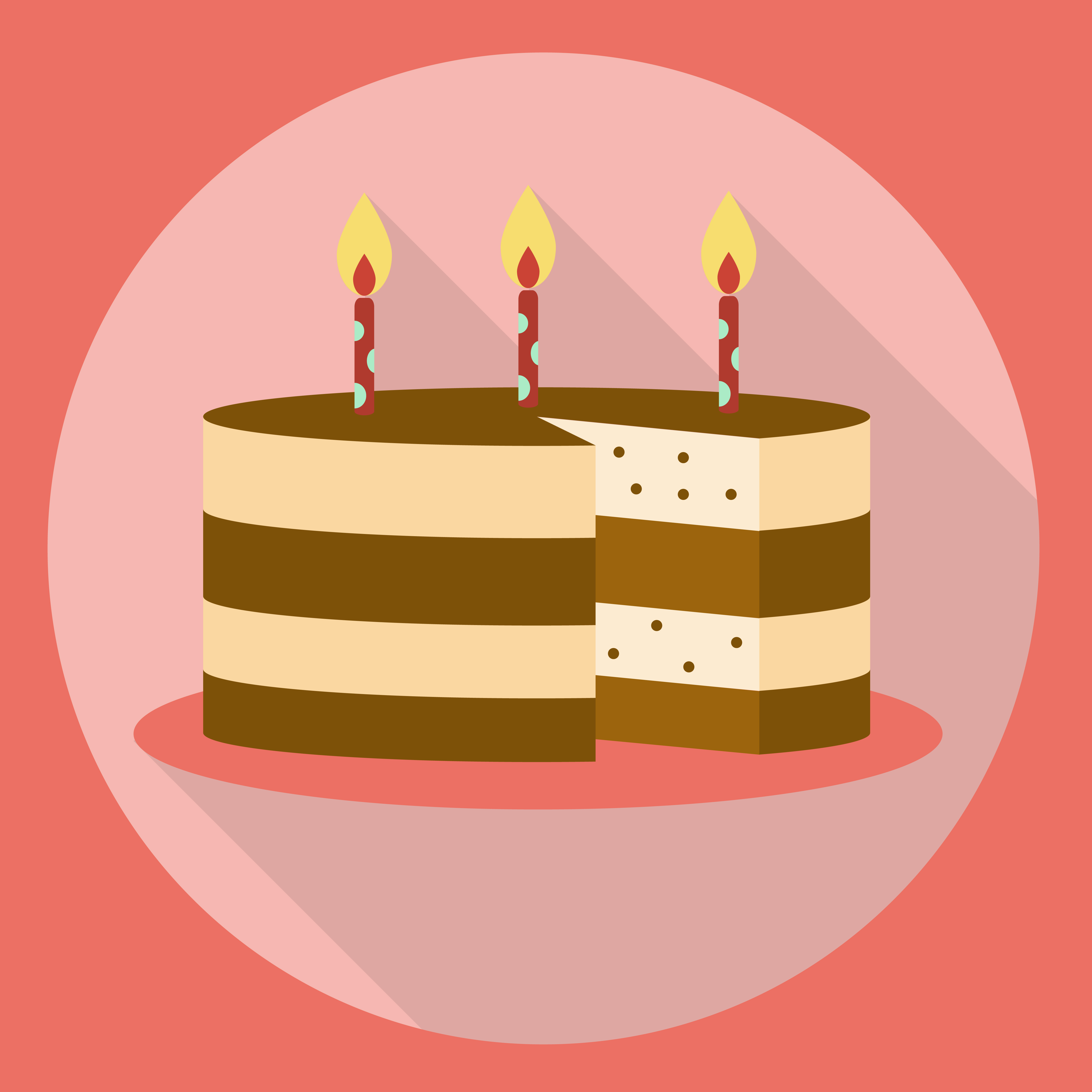 Superb Birthday Cake Icon Flat Style With Long Shadow Download Free Funny Birthday Cards Online Kookostrdamsfinfo