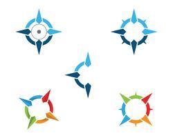 Kompasslogo Mall vektor ikon illustration