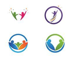 Logo et symboles des personnes de la communauté vecteur