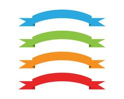 Flat vector ribbons banners flat isolated on white