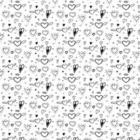 Pattern With Abstract Hand Drawn Cute Heart. Vector Illustration Background.