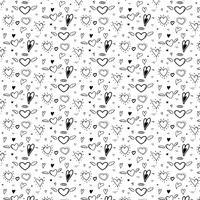 Muster mit abstrakter Hand gezeichnetem nettem Herzen. Vektor-Illustration Hintergrund.