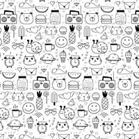 Pattern With Line Hand Drawn Doodle Lovely Vector Background For Kid. Doodle Funny. Handmade Vector Illustration.