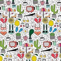 Patroon met Hand getrokken Doodle mooie achtergrond. Doodle grappig. Handgemaakte vectorillustratie.