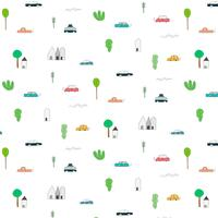 Pattern With Abstract Home Car And Tree Elementi di design. Fondo fatto a mano dell'illustrazione di vettore.