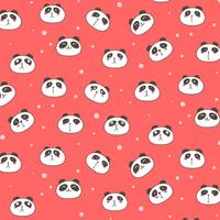 Cute Panda Vector Pattern Background. Fun Doodle. Handmade Vector Illustration.