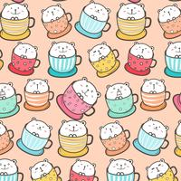 Cute Bear In The Cup Pattern Background. Vector Illustration.