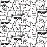Cute Bears Doodle Art Pattern Background. Vector Illustration.