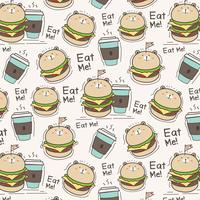 Cute Bear Burger And Coffee Cup Pattern Background. Vector Illustration.
