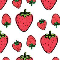 Strawberry Fruit Pattern Background. Vector Illustration.