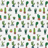 Modèle de cactus tropical dessiné à la main. Illustration vectorielle fabriqué à la main.
