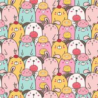 Cute Animal Vector Pattern Background. Fun Doodle. Handmade Vector Illustration.