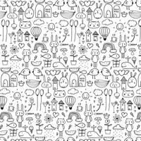 Pattern With Line Hand Drawn Doodle Lovely Background For Kid. Doodle Funny. Handmade Vector Illustration.