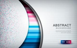 Abstrakt färgad bakgrund med vitt överlappningsskikt, texturform och glitters dekoration.