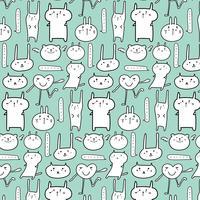Cute Animal Pattern Background. Vector Illustration.