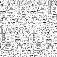 Muster mit Linie Hand gezeichneter Gekritzel-reizender Cat Background. Gekritzel lustig. Handgemachte Vektor-Illustration.