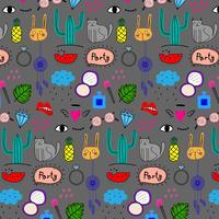 Mönster med handdragen klotter Lovely Party Background. Doodle Roligt. Handgjord vektorillustration.
