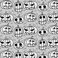 Gelukkig Halloween-patroon. Leuke Halloween-pompoenen op Grijze achtergrond.