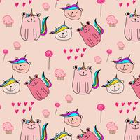 Cute Bear Unicorn Pattern Background. Vector Illustration.