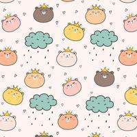 King Bear Pattern Background For Kids. Vector Illustration.