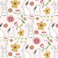 Rabbit And Flower Pattern Background. Vector Illustration.