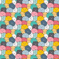 Cute Bears Vector Pattern Background. Fun Doodle. Handmade Vector Illustration.
